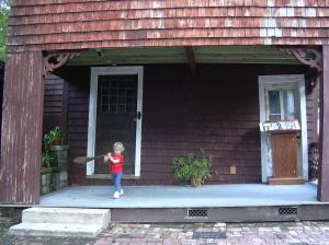 Hannah helping to sweep in 2004.